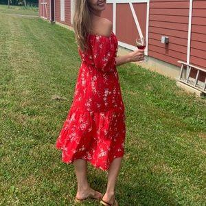 Red H&M off-the-shoulder floral summer midi dress
